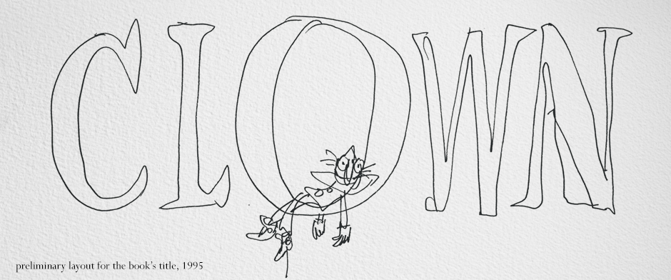 Quentin Blake's CLOWN rough sketch title
